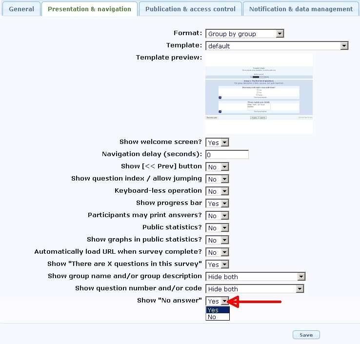template survey