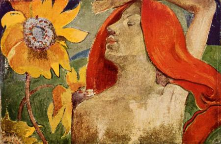 Paul-Gauguin-Redheaded-woman-and-sunflowers