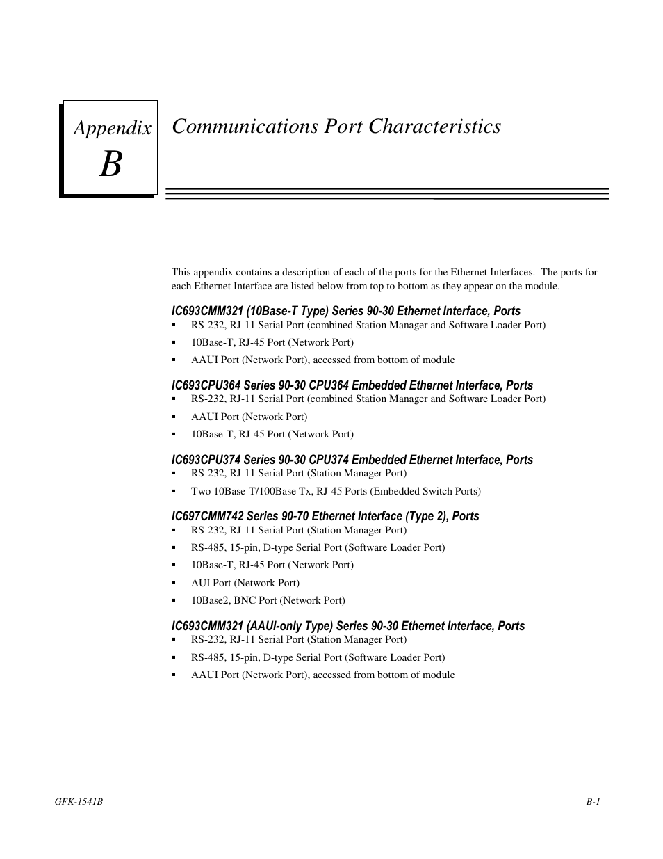 Port Network Communications Port Characteristics Appendix Ge Gfk 1541b User