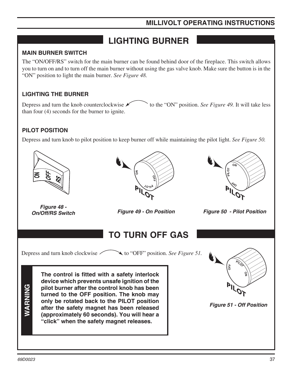 Gas Fireplace Pilot Light Out Lighting Burner Pilo T Millivolt Operating Instructions