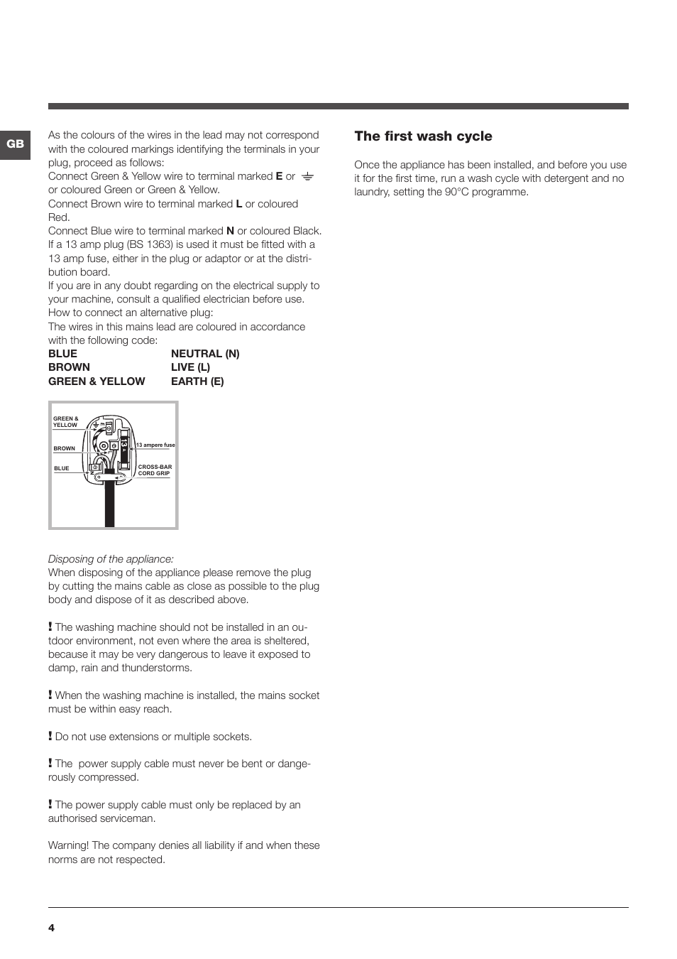 Indesit Iwdc 6125 The First Wash Cycle Indesit Iwdc 6125 S User Manual Page 4