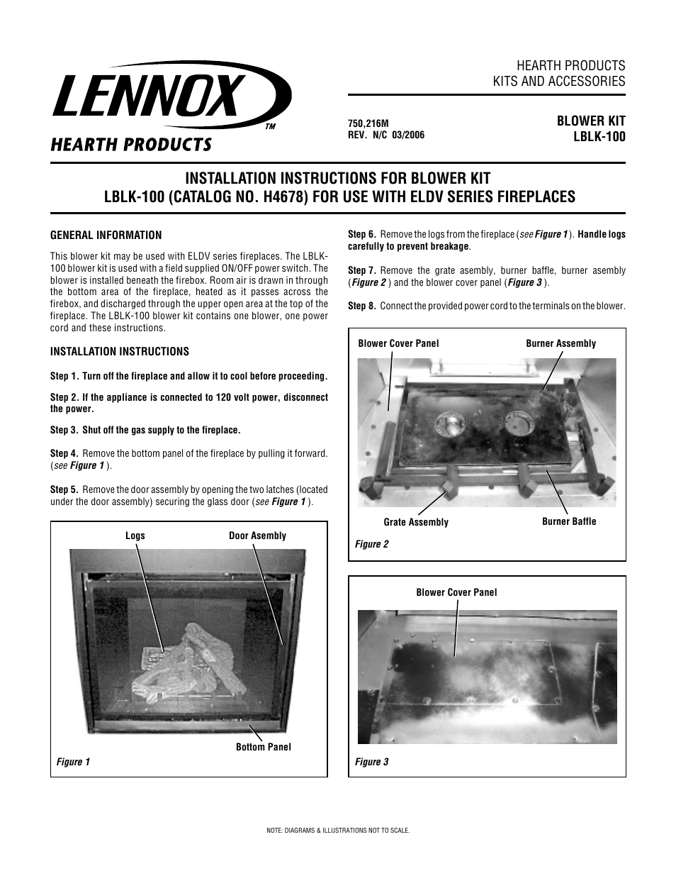 Fireplace Blower Kits Lennox Hearth Blower Kit Lblk 100 User Manual 4 Pages