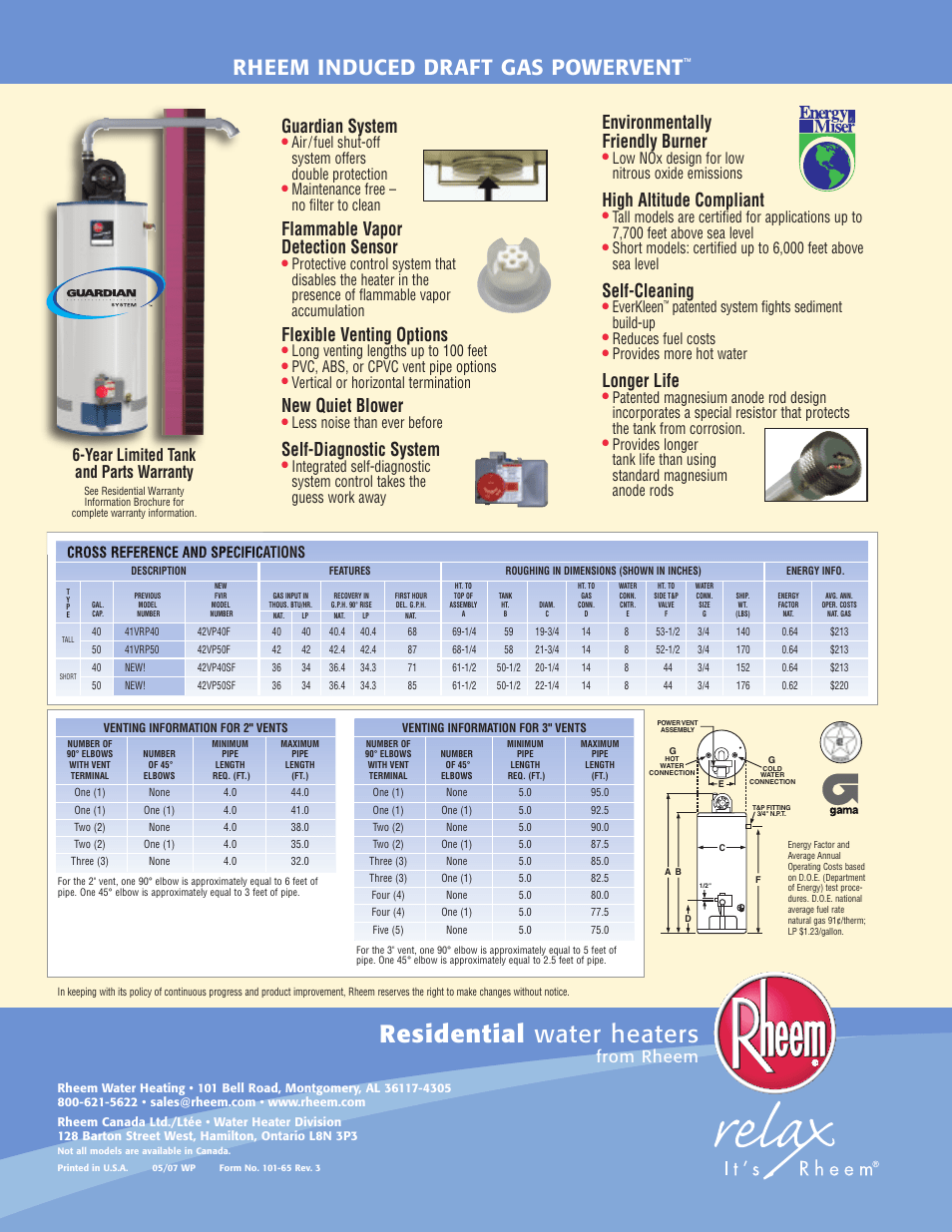 Rheem Power Vent Residential Water Heaters Rheem Induced Draft Gas Powervent