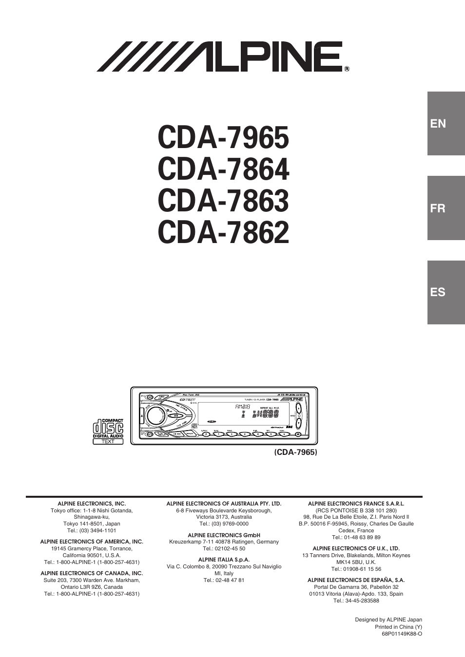 Roissy Charles De Gaulle Cedex Fr Alpine Cda-7863 User Manual | 28 Pages | Also For: Cda