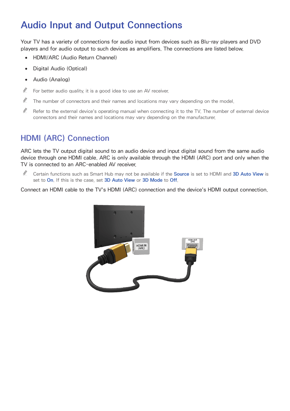 Hdmi Arc Audio Input And Output Connections Hdmi Arc Connection