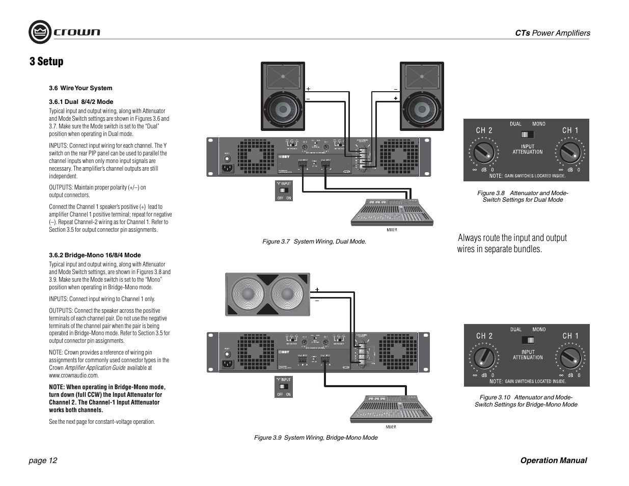 Crown Amplifiers 3 Setup Crown Audio Cts 1200 User Manual Page 12 60