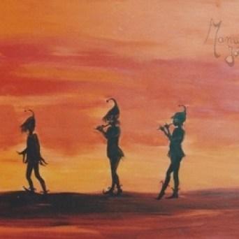 tableau orange cinq lutins marchant