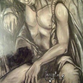 dessin elfe homme assis cheveux longs
