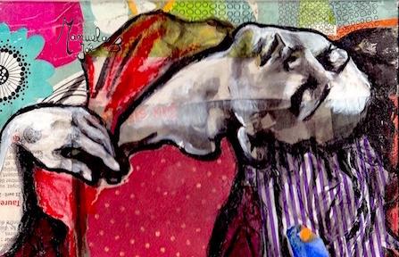 Collage-peinture pour continuer ma série de petits formats