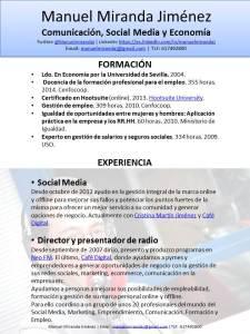 Manuel Miranda Jiménez CV diciembre 2015 - Diapositiva 1