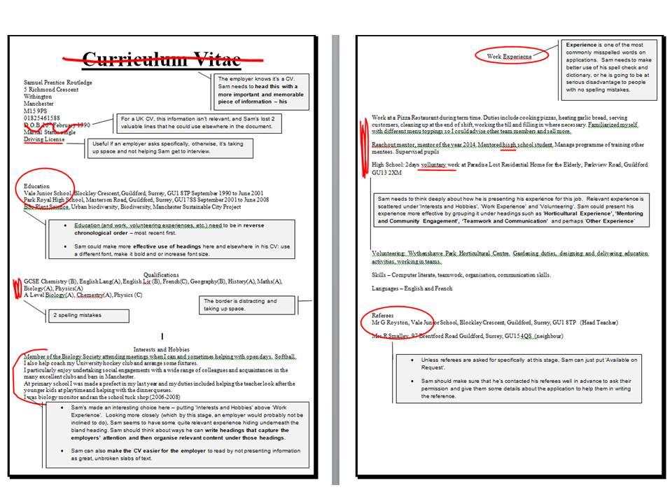 Helping Sam with his CV \u2013 layout and presentation \u2013 University of
