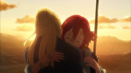フィーネと抱き合うイゼッタ(第3話)