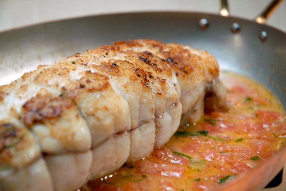 Roast stuffed monkfish with saffron lemon tomato capers for Monk fish recipes
