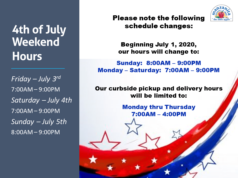 Fourth of July Hours Change
