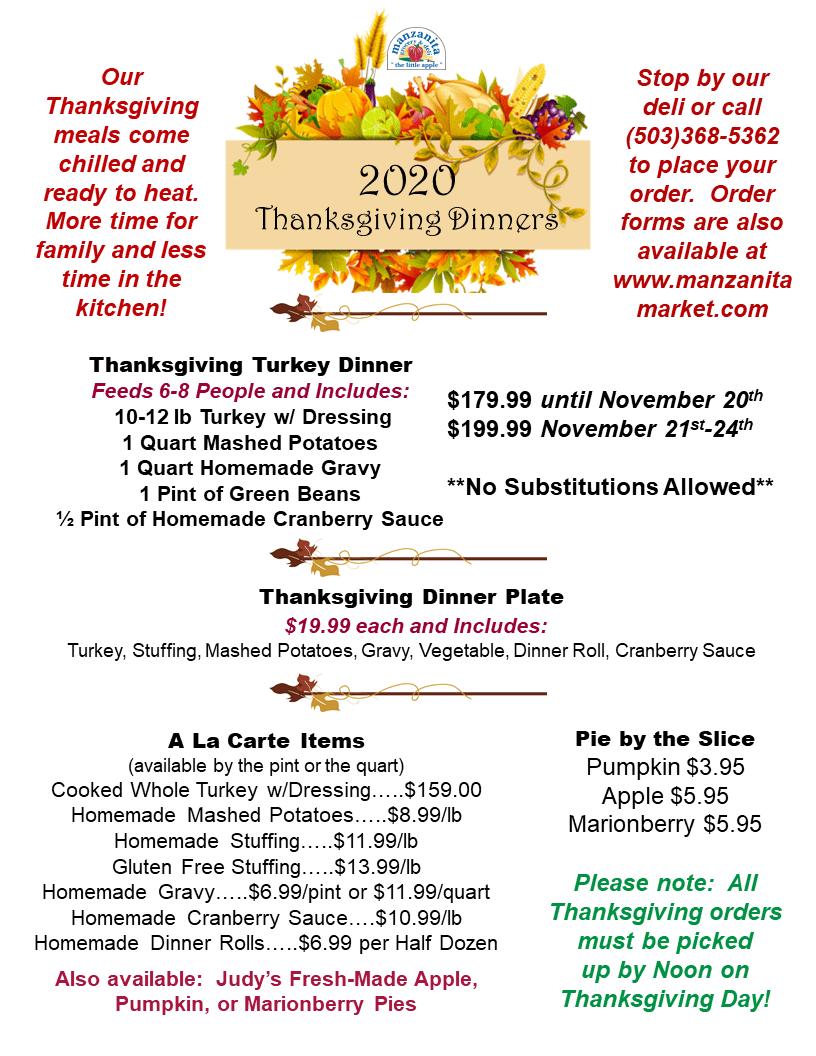 2020 Thanksgiving Prices