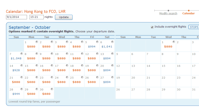List of fares throughout the month of September.