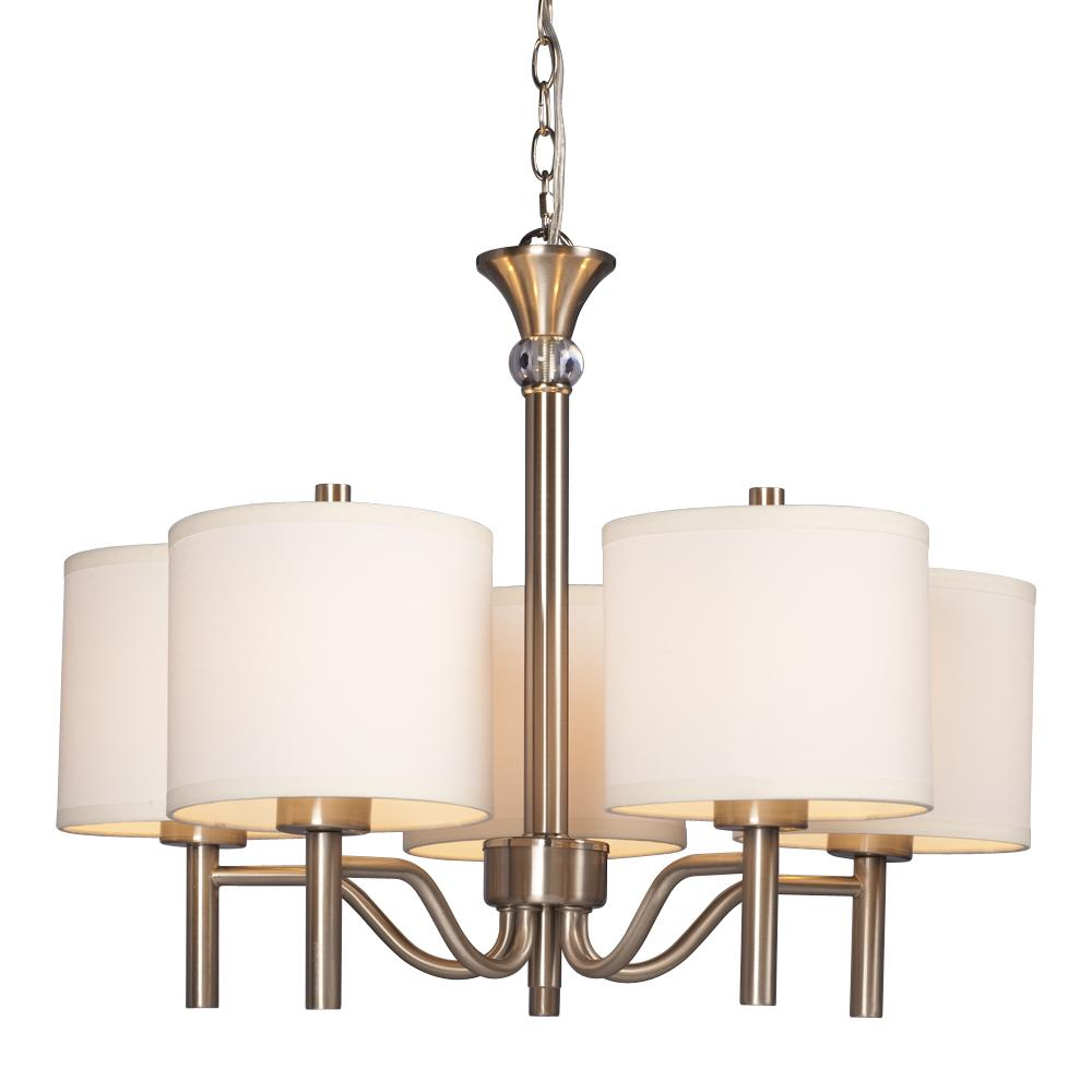 Galaxy Lighting 5 Light Chandelier Brushed Nickel With Off White Linen Shades