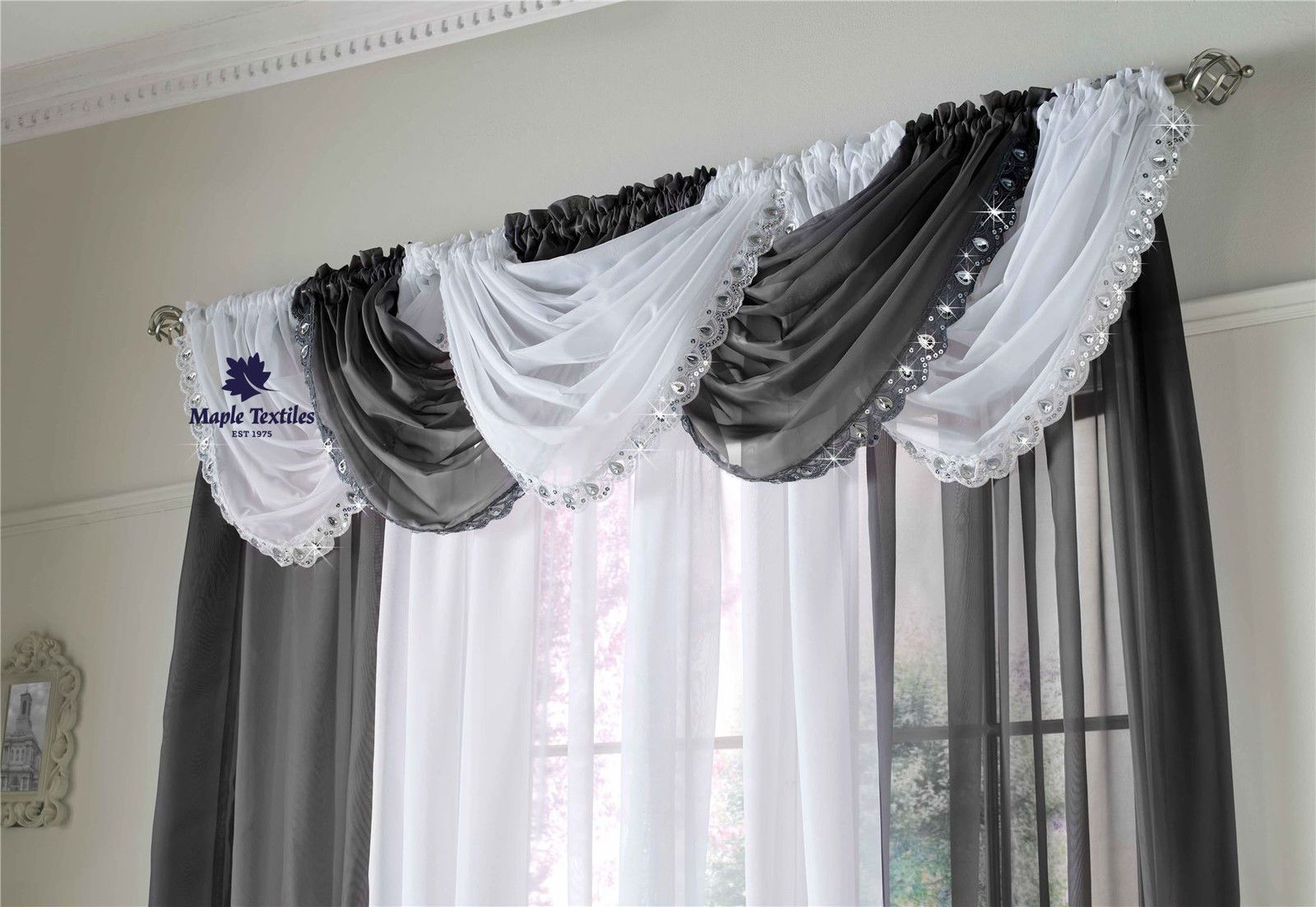 Black Voile Curtains Crystal Sequin Sparkles Jewelled Glitzy Trim Voile Curtain Swag
