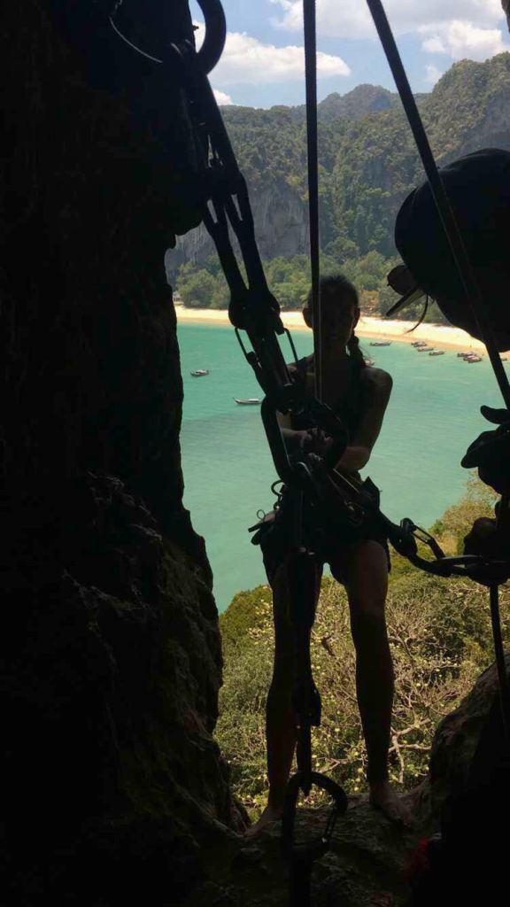 Rappeling Railay Beach. Rock Climbing in Railay, Thailand