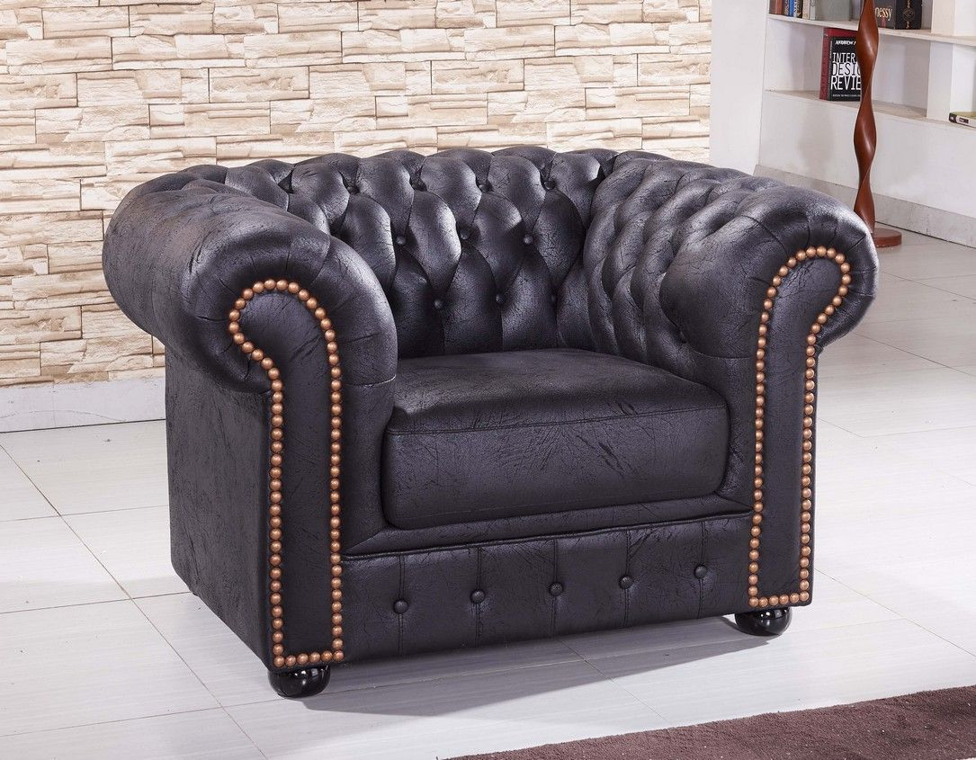 Sessel Chesterfield Schwarzer Mikrofaser Sessel Chesterfield 1 Ms Sofort