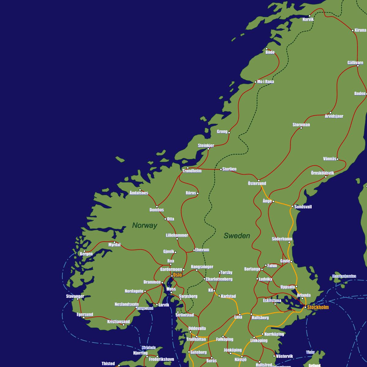 Norway Train Map Of Norway Train Routes Map Of Norway Train Routes Northern