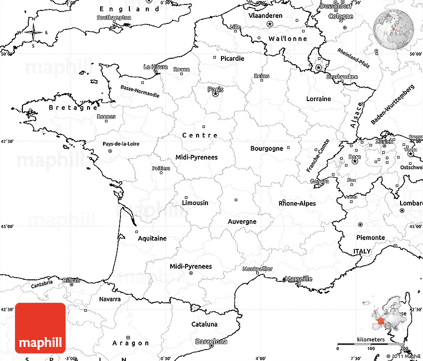 Blank Simple Map of France