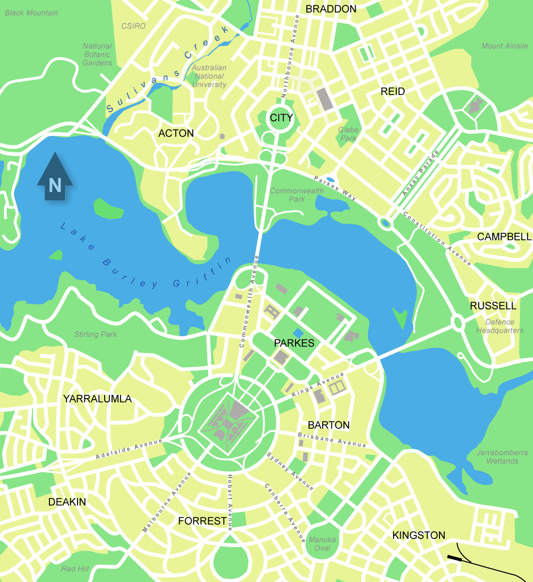 Map Of Canberra City Central Map Of Canberra Mapsof