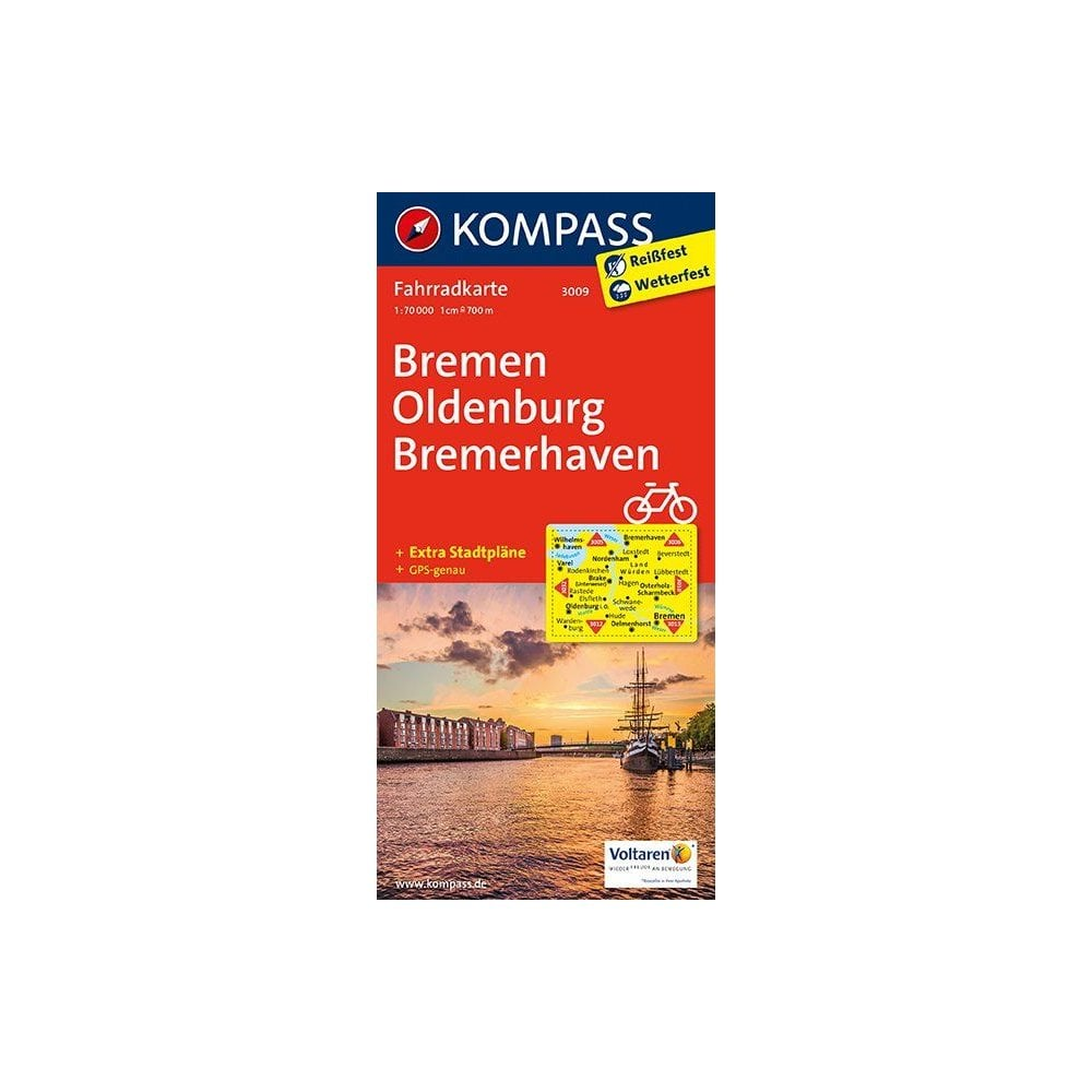 Maps Oldenburg Bremen Oldenburg Bremerhaven City Map Kompass Cycling Map 3009