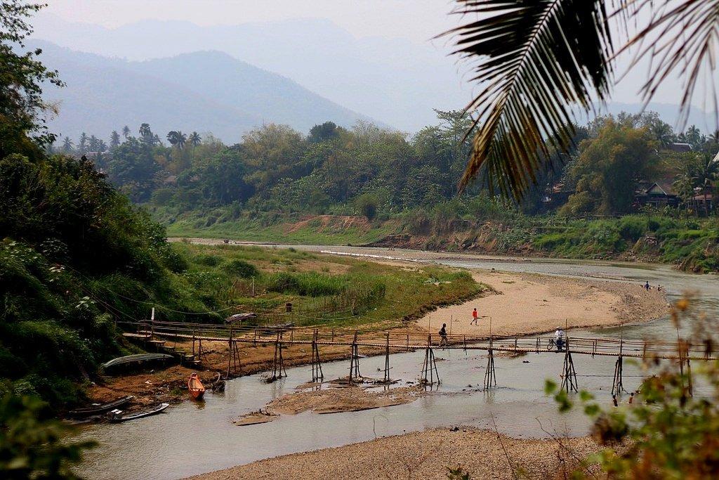 gBamboo bridge in Prabang - UNESCO World Heritage Site, Laos