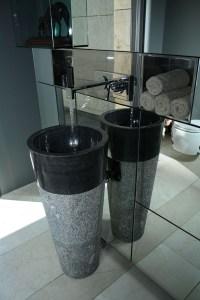 Free Standing Black Marble Pedestal Sink Bathroom 90 cm x ...