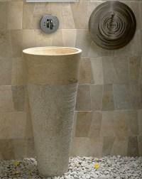 Free Standing Pedestal Sink Cream Marble Bathroom 90 cm x ...