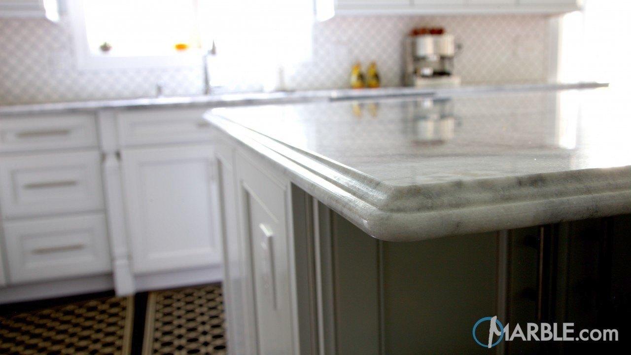 Super White Quartzite Countertops In An Elegant Kitchen