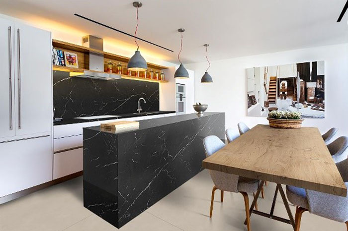 Kitchen Island Height Nero Marquina Quartz | Marblex Design International