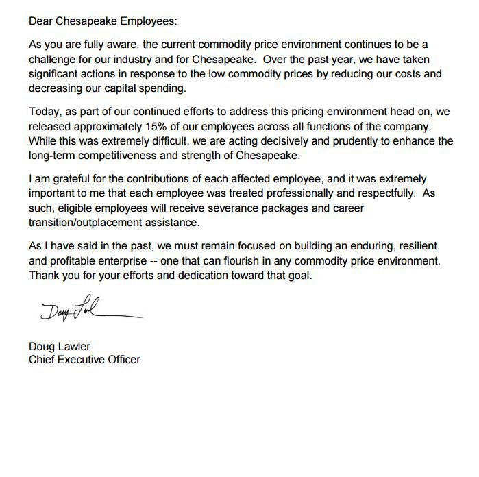 The Great Chesapeake Massacre II Lawler Fires Another 740 People - employee lay off letter