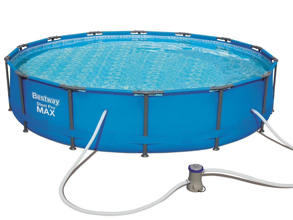 Sol Piscine Tubulaire Kit Piscine Tubulaire Bestway Steel Pro Max Pools Ronde Ø427 X 84cm Filtration Cartouche