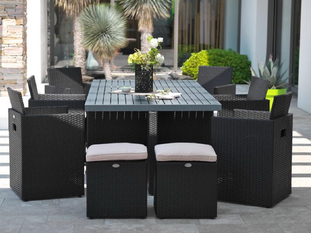 Salon De Jardin Table Résine Tressée Avec 4 Fauteuils Encastrables