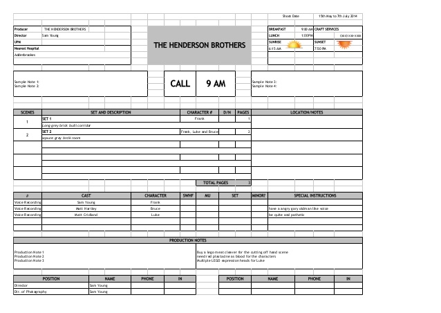 Call Sheets - by Don Rorke - March on Film