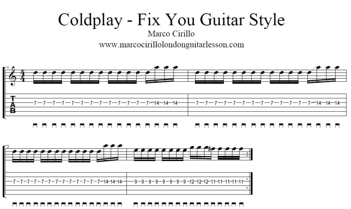 Free Online Guitar Lesson u2013 Coldplay Fix You Guitar Style u2013 Electric Guitar Lesson u2013 Marco ...