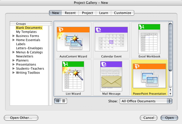 Microsoft Office X Project Gallery