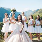 mariage, bouquet, demoiselle, robe,