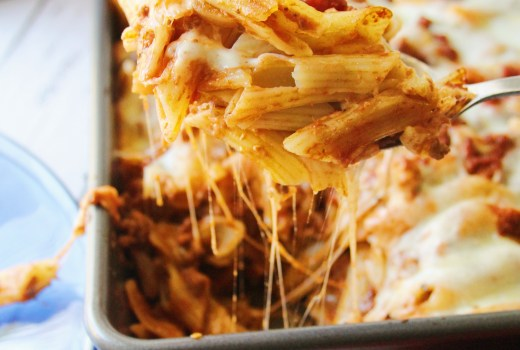 Baked Penne Pasta w: Red Wine Bolognese Sauce