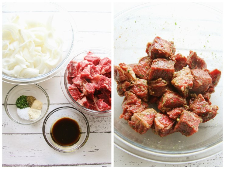 Caramelized Onion Gorgonzola Steak BItes: Ribeye steak bites paired with gorgonzola cheese, and carmelized onions! Perfect for happy hour, appetizers, and drinks with friends.