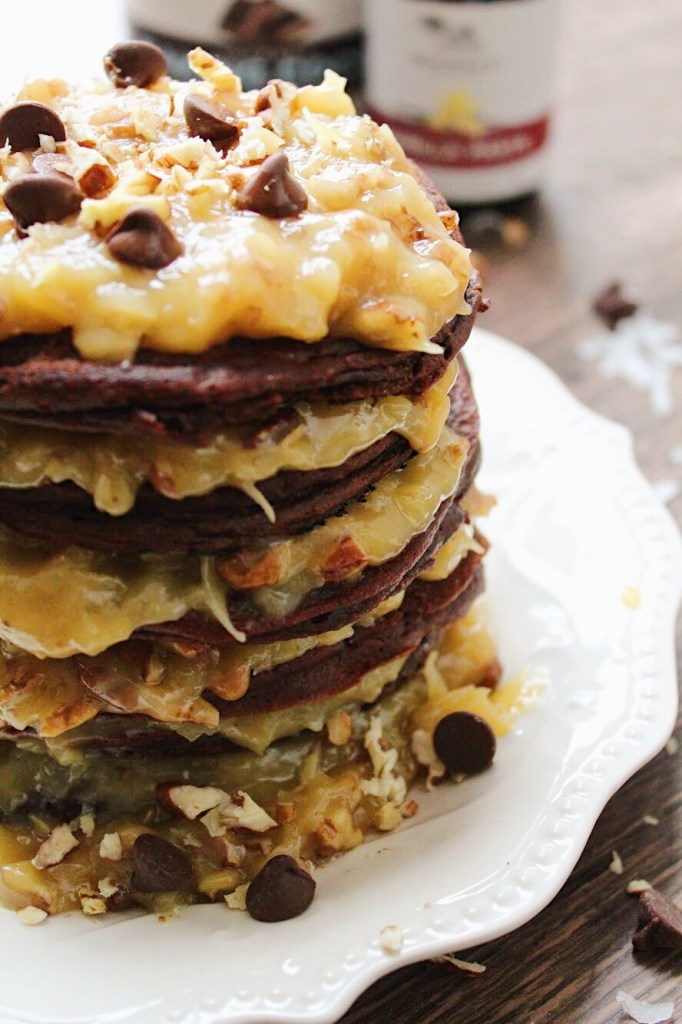 German Chocolate Pancakes are the perfect holiday treat for your weekend guests. Chocolate, Pecans, Sweet flakes of coconut, butter, and more! Have them for breakfast, brunch, or brinner.