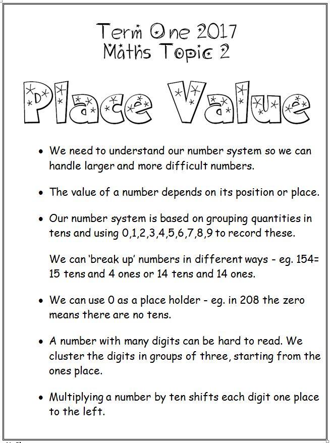 Place Value - MargD Teaching Posters - place value unit