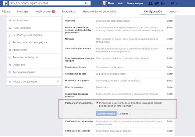 facebook page publicación multiidioma configuración