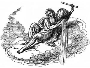 Drawing of Aquarius, the eleventh zodiacal sign, appearing in William Hone's Hone's Everyday Book.