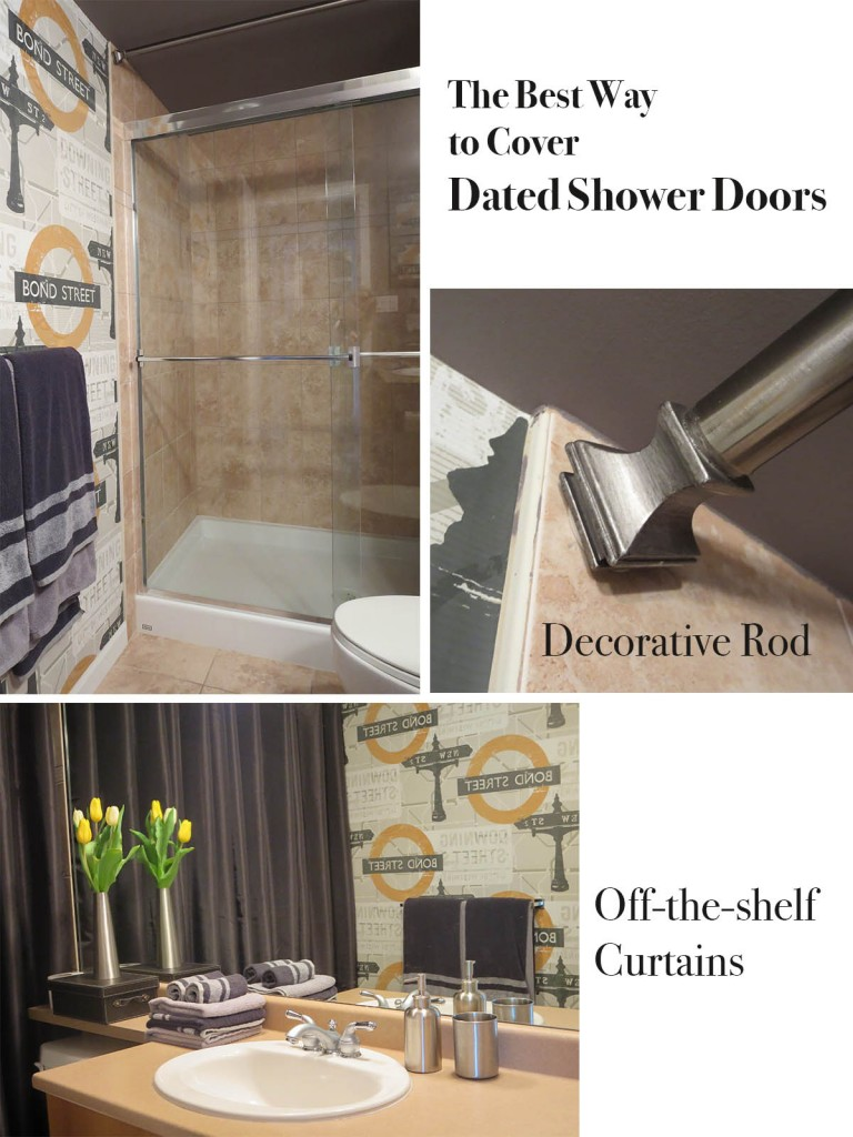 Glass Shower Curtains The Best Way To Cover Dated Shower Doors Maria Killam The True