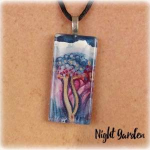 Night Garden Watercolor Painting Necklace by Marika Reinke 2017