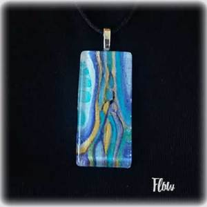Flow 2 Watercolor Painting Necklace by Marika Reinke 2017