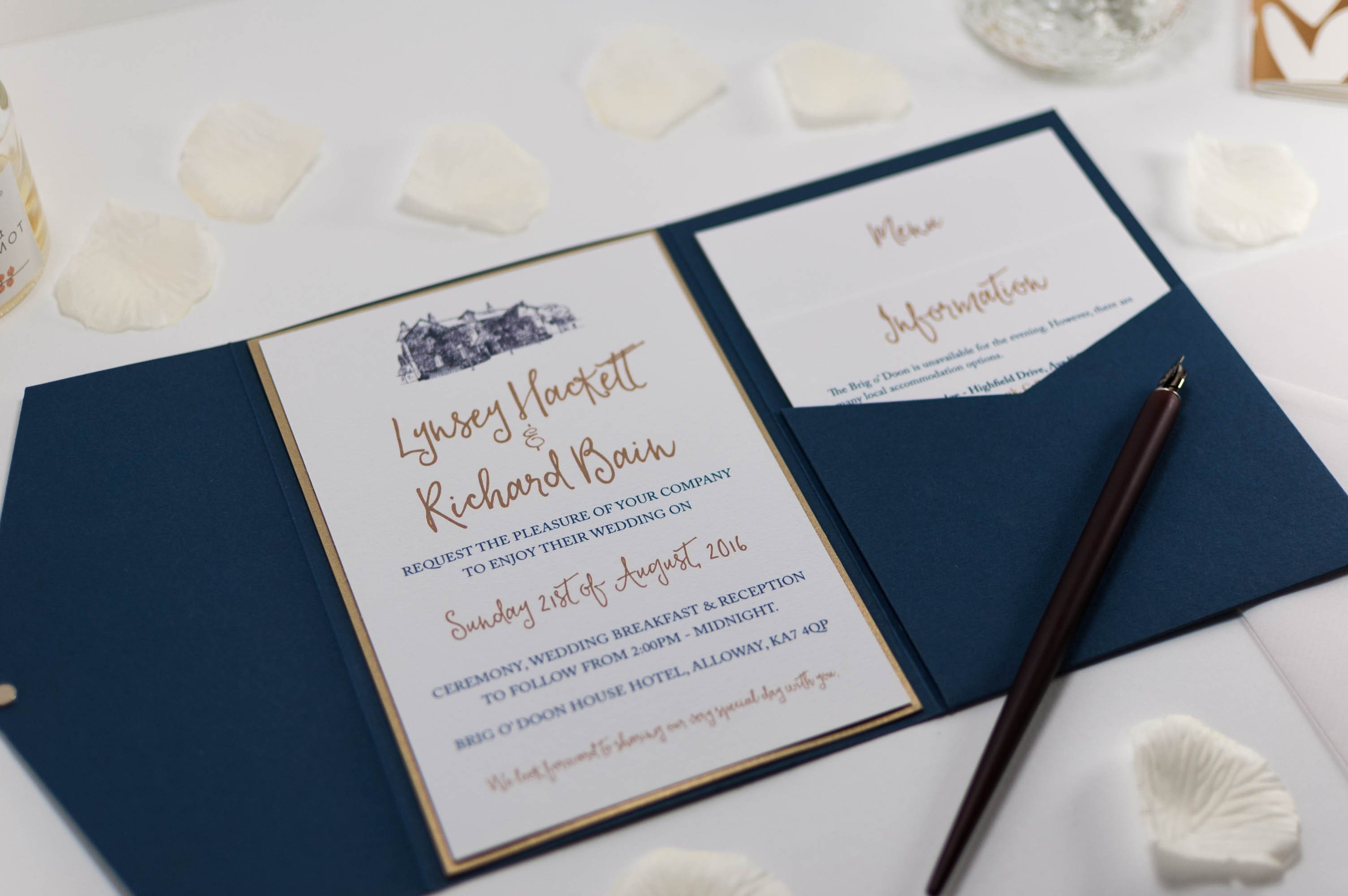 Amazing Letterpress Wedding Invitations As Well As Gold Calligraphy ...
